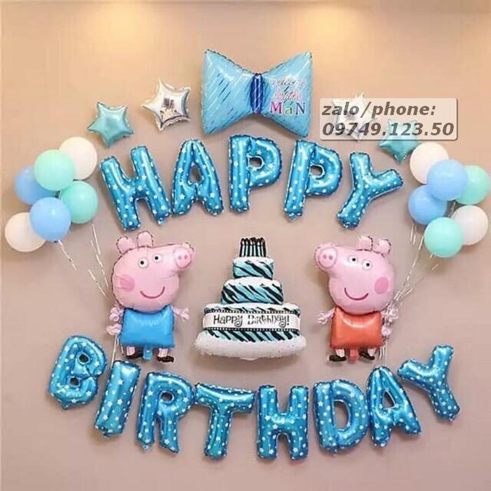 Set bóng sinh nhật chú cừu màu xanh 01
